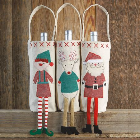 Reindeer Dangle-Leg Canvas Wine Bottle Cover