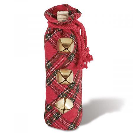 Jingle Bell Tartan Wine Bag