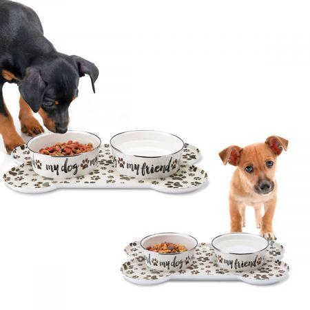 Sit-n-Stay Magnetic Pet Tray & Food Bowl Set