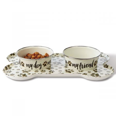 Large Sit-n-Stay Magnetic Pet Tray & Food Bowl Set