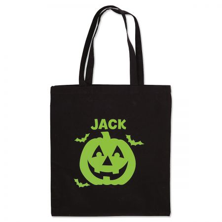 Personalized Jack-O'-Lantern Glow-in-the-Dark Halloween Treat Bag
