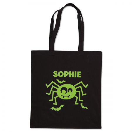 Personalized Spider Glow-in-the-Dark Halloween Treat Bag