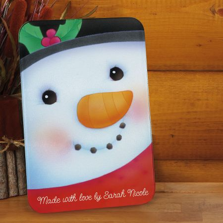 Snowman Personalized Glass Cutting Board