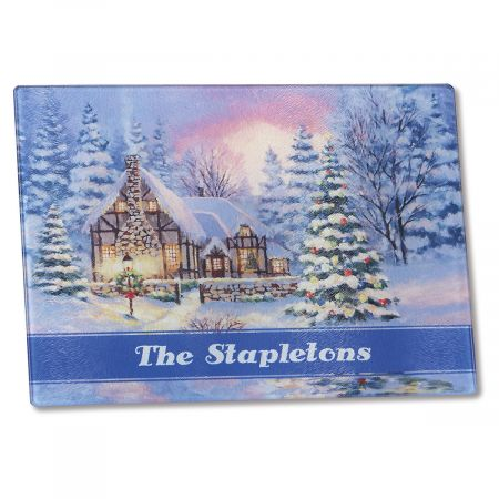 Winter Cottage Tempered Glass Cutting Board