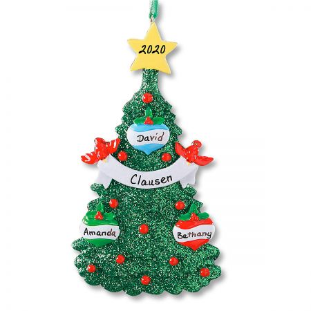 Glitter Tree Christmas Personalized Ornaments