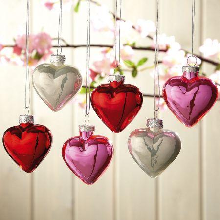 Glass Heart Ornaments