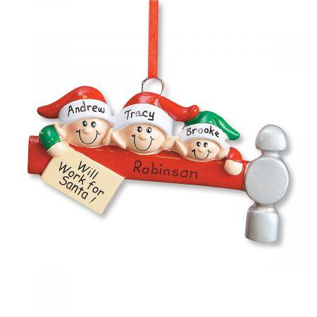 Elf Family Ornament-3 Names-608234B