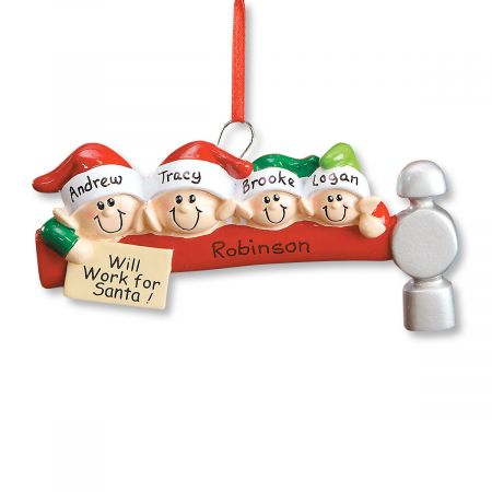 Elf Family Ornament-4 Names-608234C