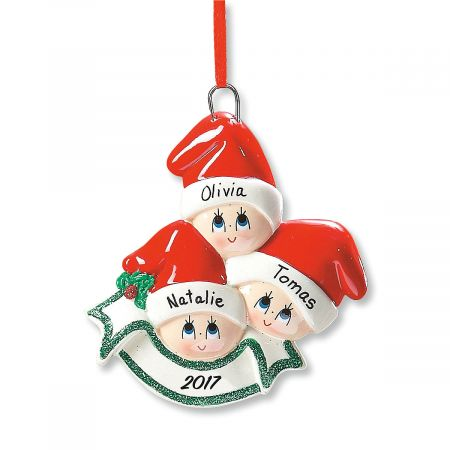 Santa Cap Family Personalized Christmas Ornament