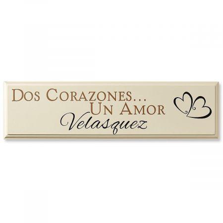 Dos Corazones Personalized Plaque