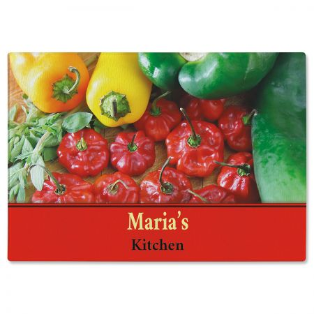 Chili Peppers Personalized Glass Cutting Board