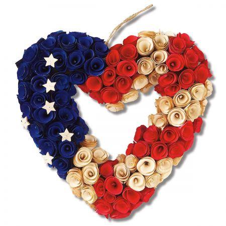 Patriotic Wooden Heart Wreath