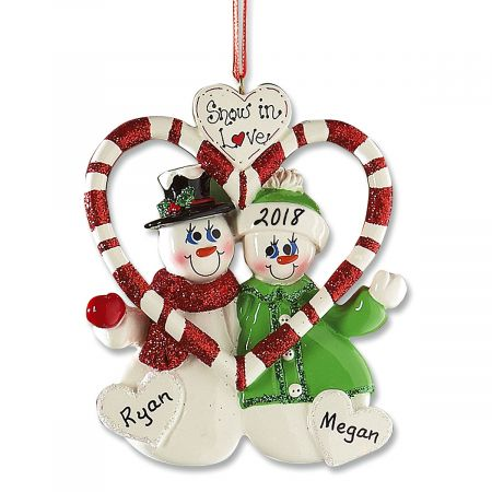 Snow in Love Holiday Personalized Ornaments