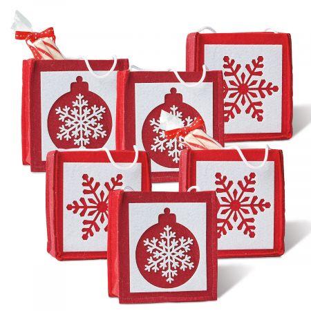 Christmas Snowflakes & Ornaments Felt Party Treat Bags