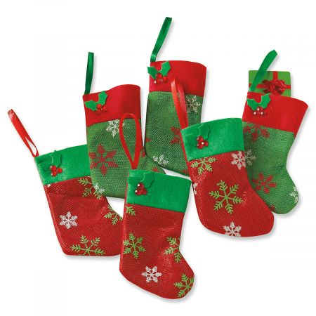 Red & Green Snowflake Stocking Gift Card Holders