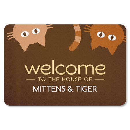 Personalized Cat Welcome Doormat-2 Cats-615568B