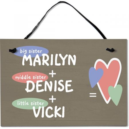 Three Sisters Personalized Wooden Plaque
