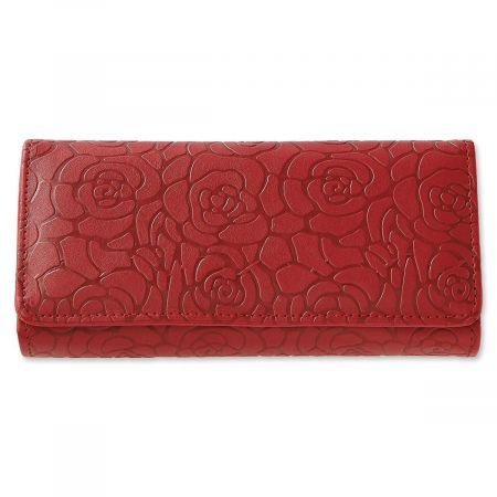 Red Wallet with Embossed Rose Pattern