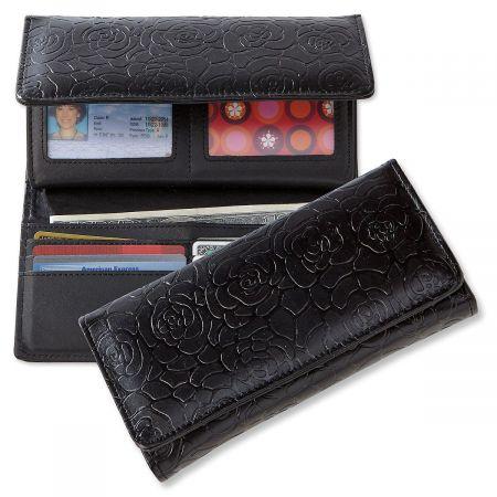 Black Wallet with Embossed Rose Pattern