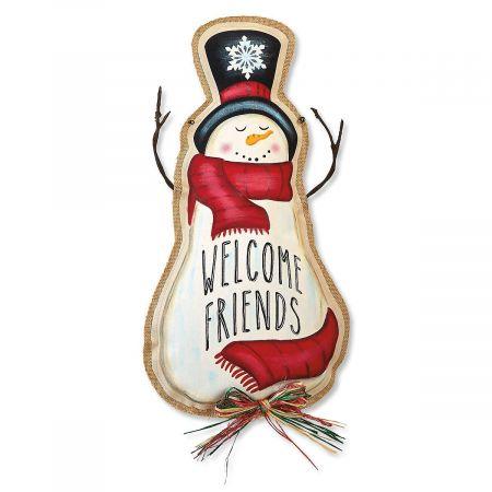 Welcome Friends Snowman Door Décor