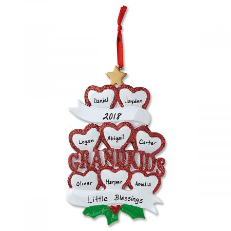 Grandkids with Hearts Ornament-8 Names-616414G