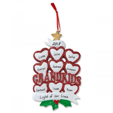 Grandkids with Hearts Ornament-9 Names-616414H