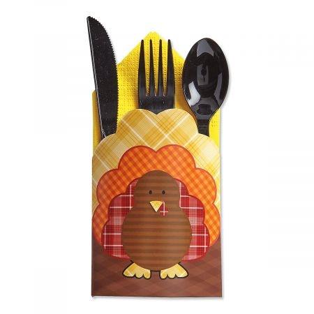Cardstock Turkey Cutlery Holders