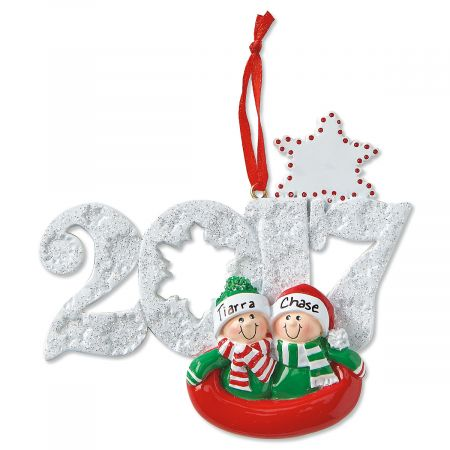 Sledding Couple Christmas Personalized Ornaments
