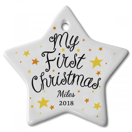 My First Christmas Ceramic Baby Personalized Christmas Ornaments