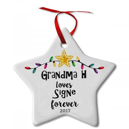 Love You Forever Ceramic Personalized Christmas Ornament