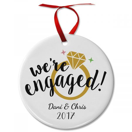 Personalized Engaged Ceramic Christmas Ornament