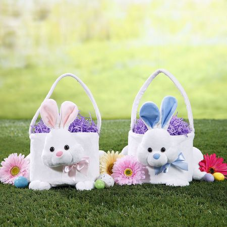 "Personalized 9"" Plush Bunny Easter Baskets"