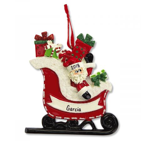 Santa's Sleigh Personalized Christmas Ornament