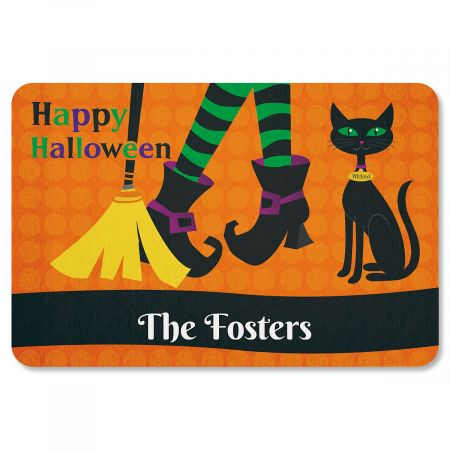 Witch Legs Personalized Halloween Doormat