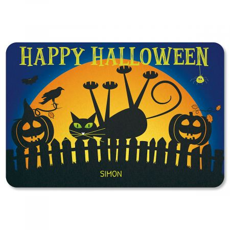 Cat Personalized Halloween Doormat - 1 Name