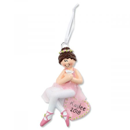Brown Hair Ballerina Personalized Christmas Ornament