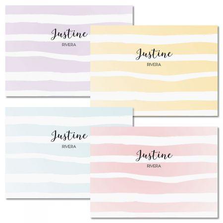 Pastel Island Stripes Folded Note Cards