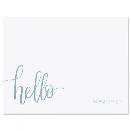 Blue Handwritten Hello Personalized Note Cards Lillian Vernon