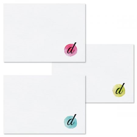 Watercolor Initial Folded Note Cards