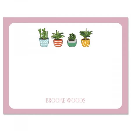 Pink Border Succulents Folded Note Cards