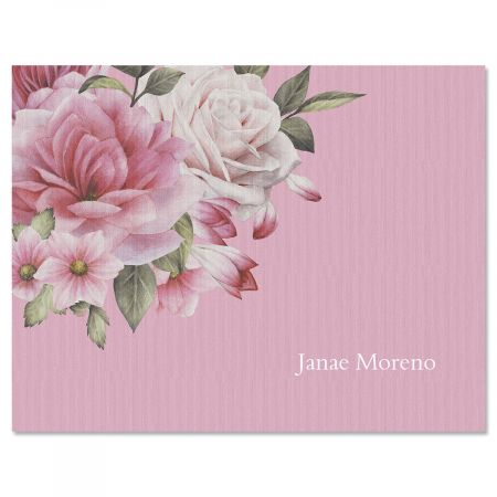 Corner Roses Folded Note Cards