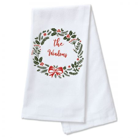 Holiday Wreath Personalized Kitchen Towel