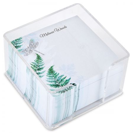 Personalized Forest Impressions Note Sheets in a Cube