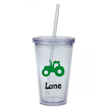 Tractor Acrylic Personalized Beverage Cup