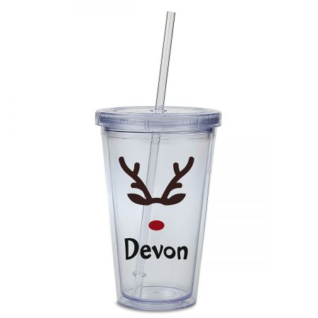 Reindeer Acrylic Personalized Beverage Cup