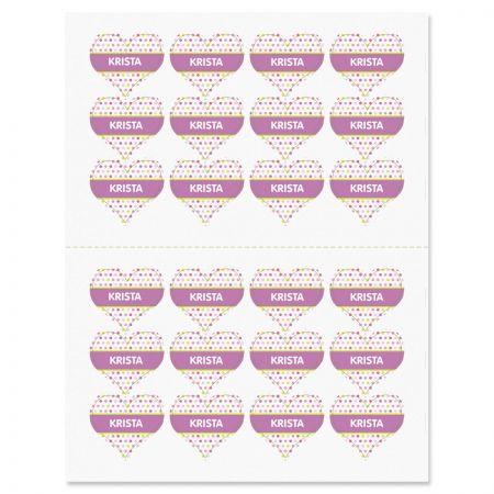 Polka Dot Heart Stickers