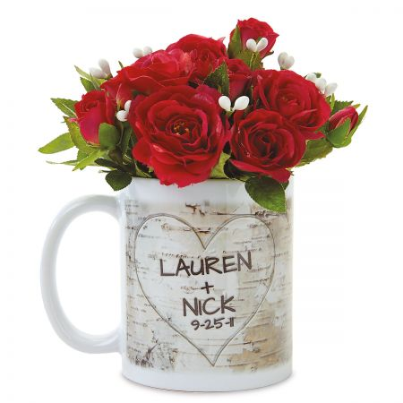 Personalized Mug with Carved Initials in Heart Design