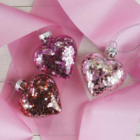 Glitter Heart Ornaments
