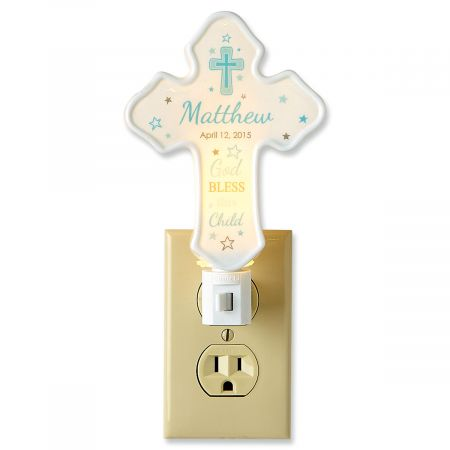Personalized Bless This Child Cross Blue Nightlight