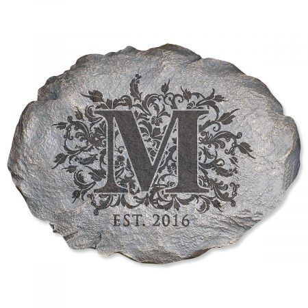 Floral Initial Personalized Garden Stone